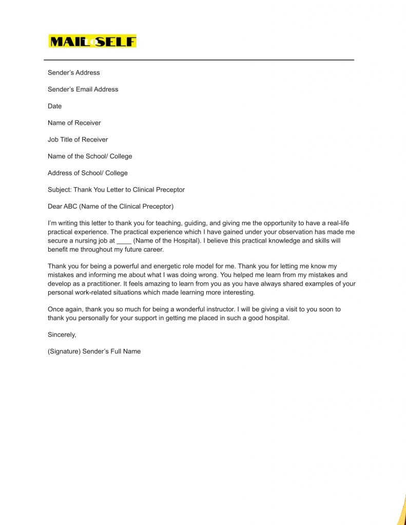 Sample #5 Thank You Letter To Clinical Preceptor