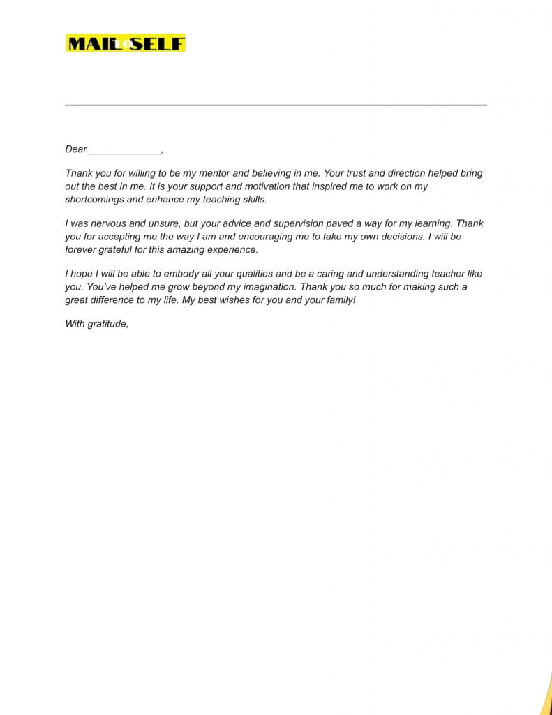 Sample #3 for Thank You Letter To Cooperating Teacher