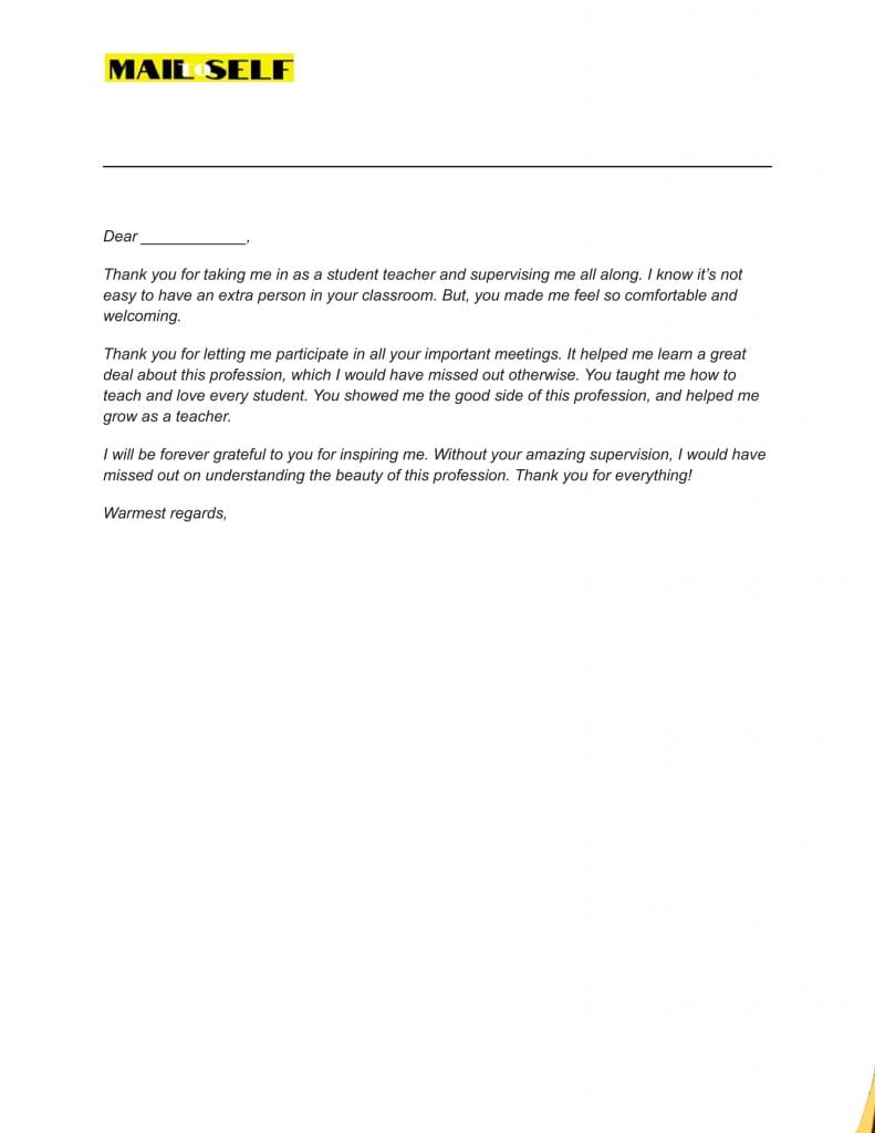 Sample #5 for Thank You Letter To Cooperating Teacher