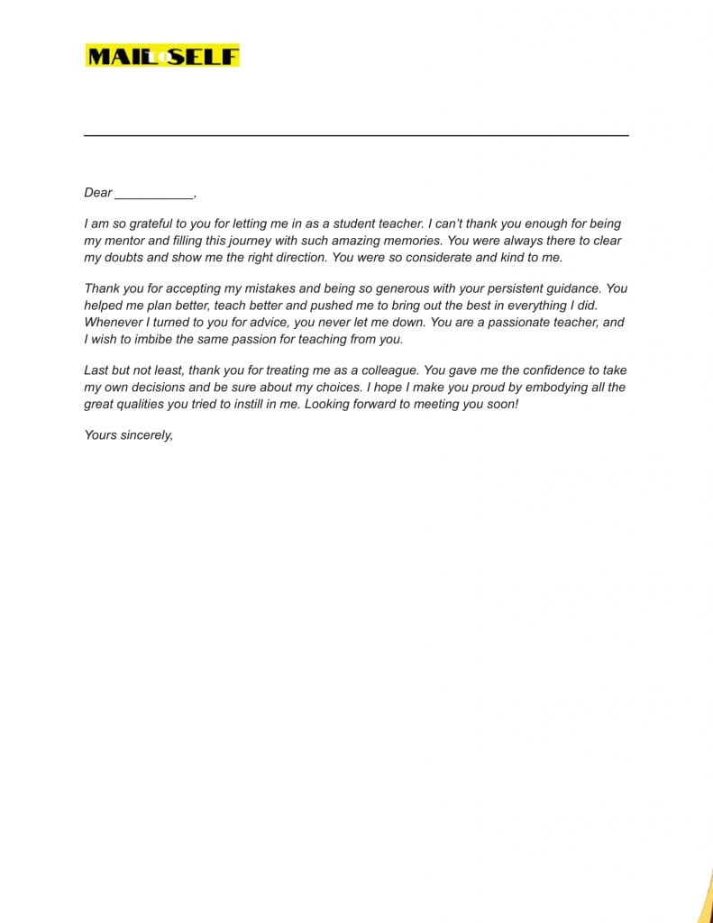 Sample #6 for Thank You Letter To Cooperating Teacher