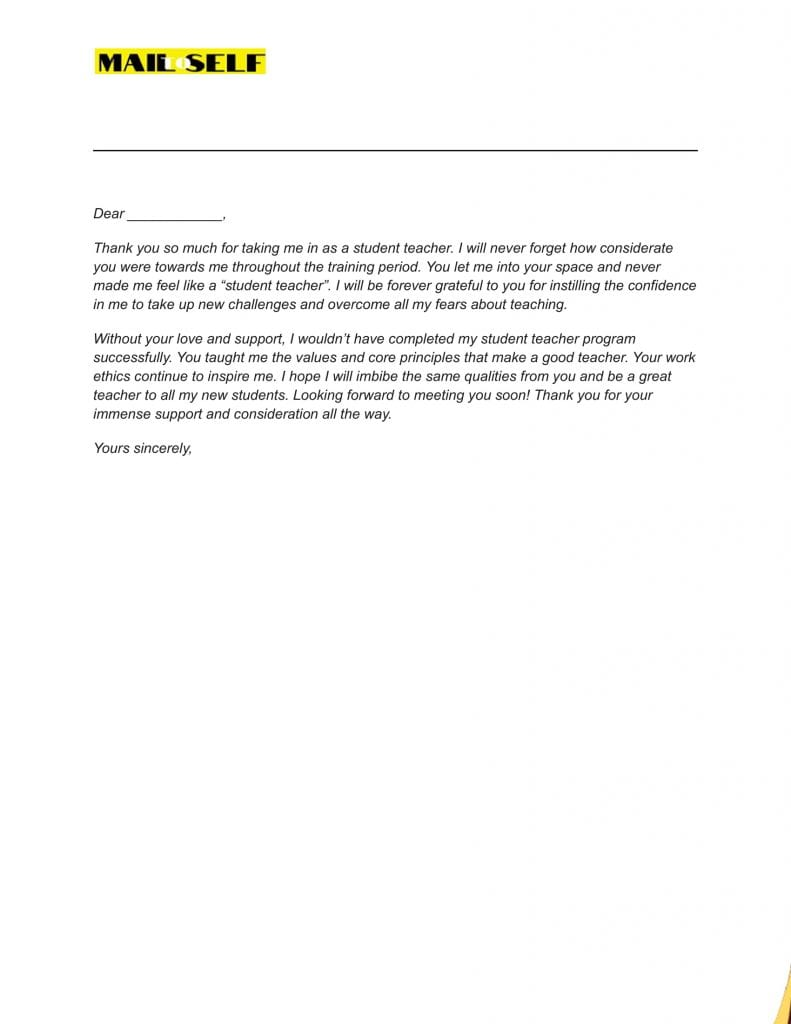 Sample #9 for Thank You Letter To Cooperating Teacher