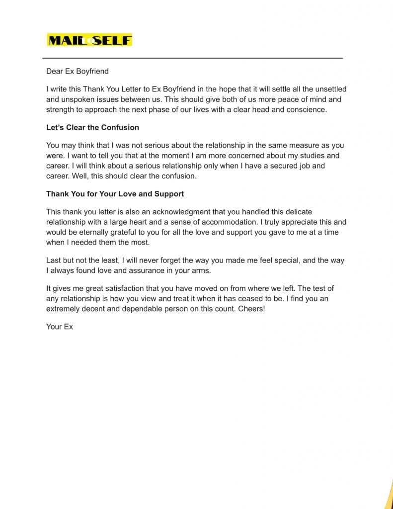 Sample #3 Thank You Letter To Ex Boyfriend