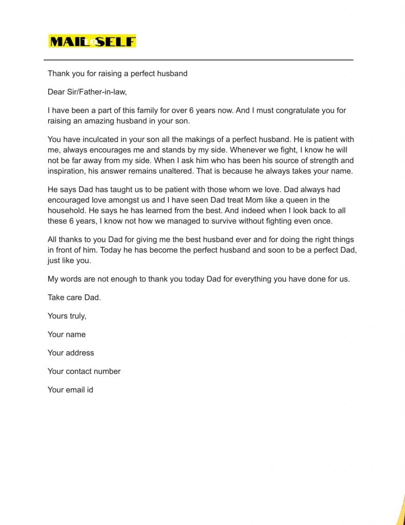 Sample #4 Thank You Letter To Father In Law