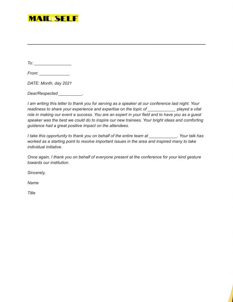Sample #1 Thank You Letter To Guest Speaker