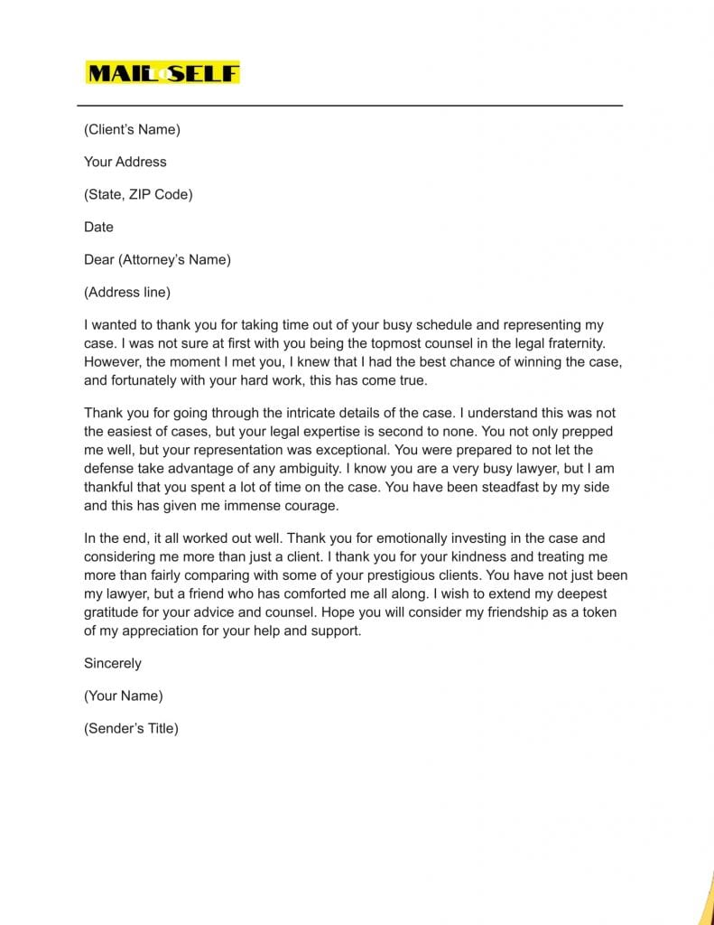 Sample #1 for Thank You Letter To Lawyer