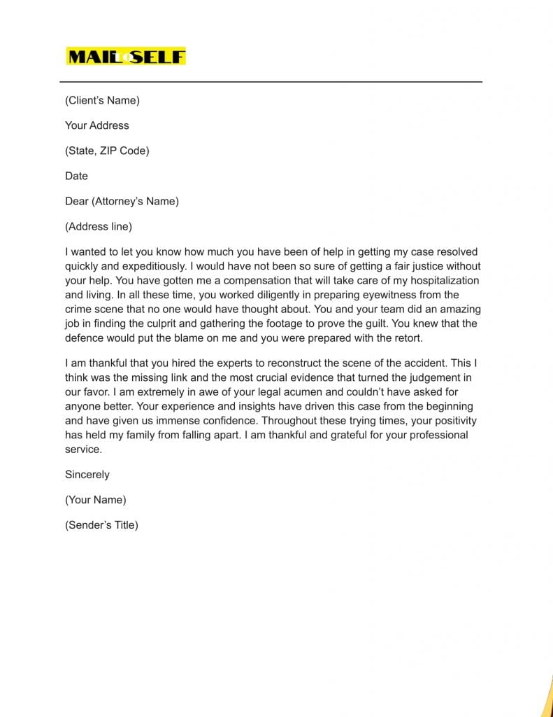 Sample #2 for Thank You Letter To Lawyer