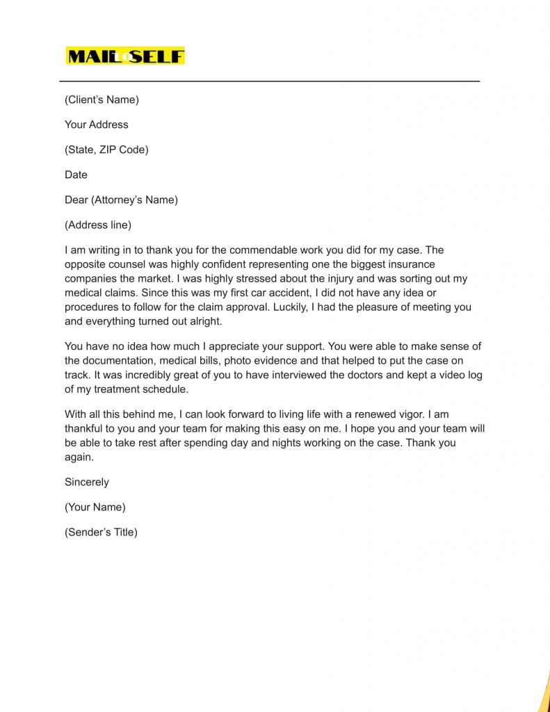 Sample $4 for Thank You Letter To Lawyer