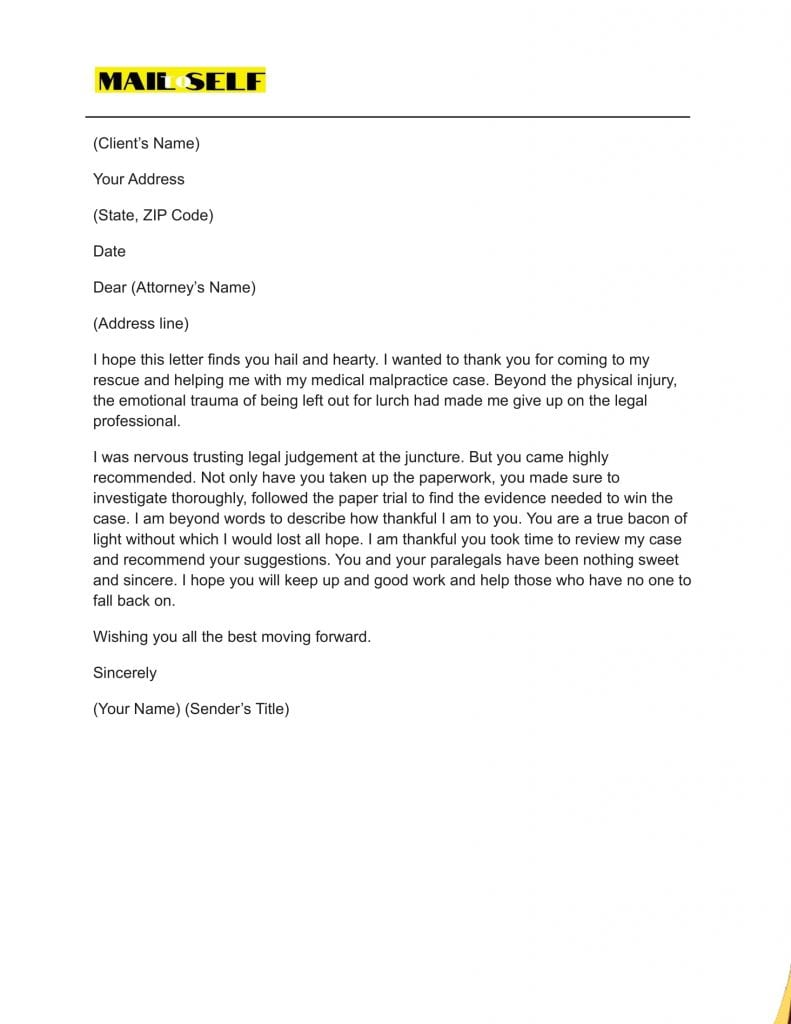 Sample #5 for Thank You Letter To Lawyer