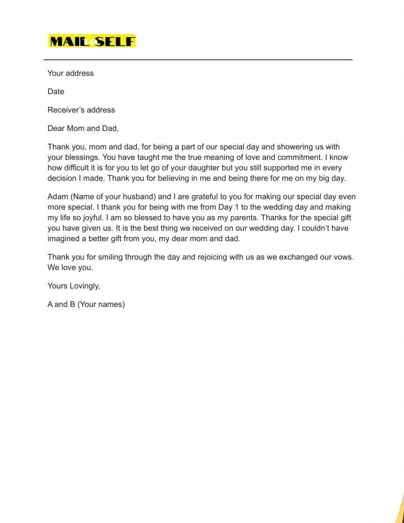 Sample #2 for Thank You Letter To Parents On Wedding Day