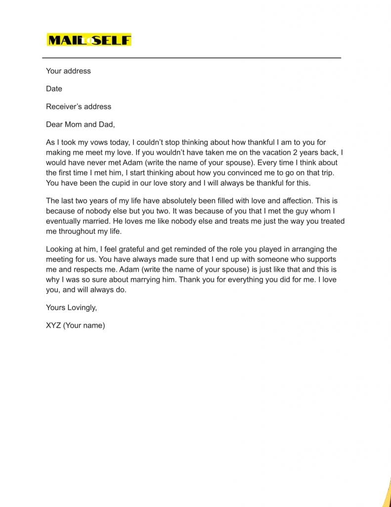 Sample #3 for Thank You Letter To Parents On Wedding Day