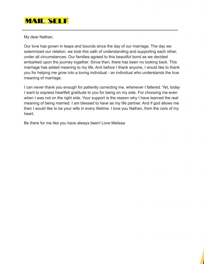 Sample #7 for Thank You Letter To Your Husband