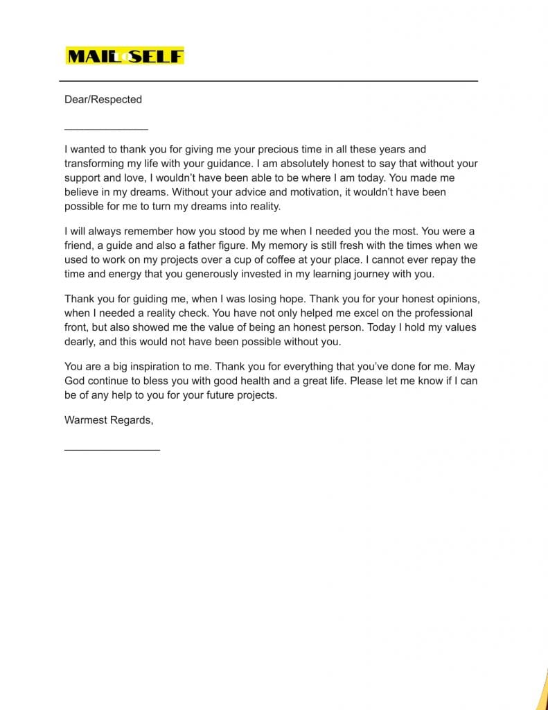 Sample #2 for Thank you letter to your mentor
