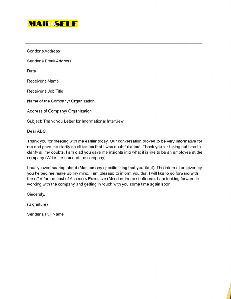 Sample #1 for Thank You Letter for Informational Interview