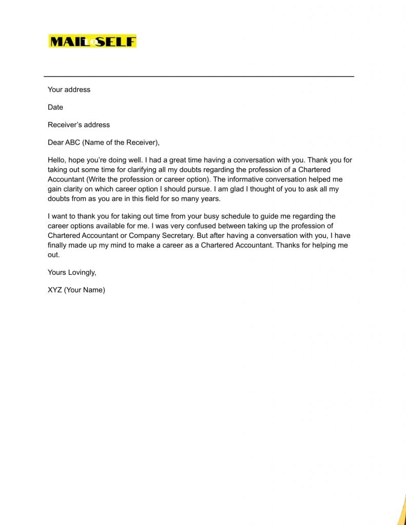 Sample #2 for Thank You Letter for Informational Interview