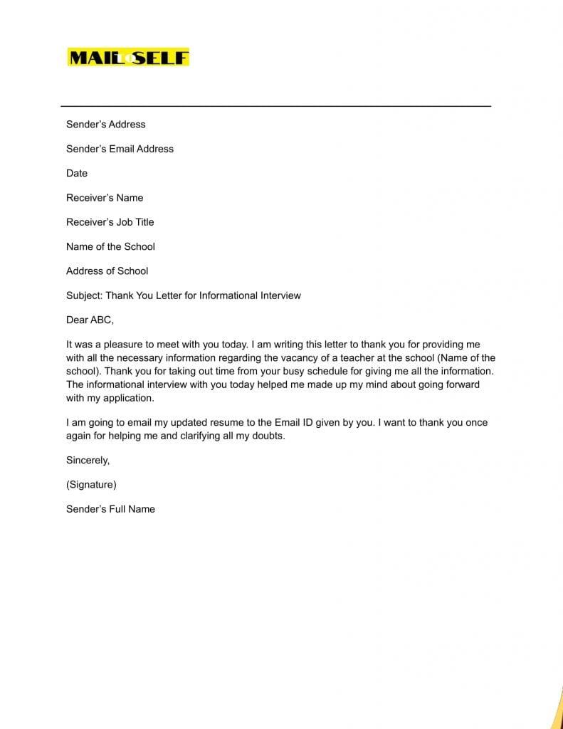Sample #3 for Thank You Letter for Informational Interview