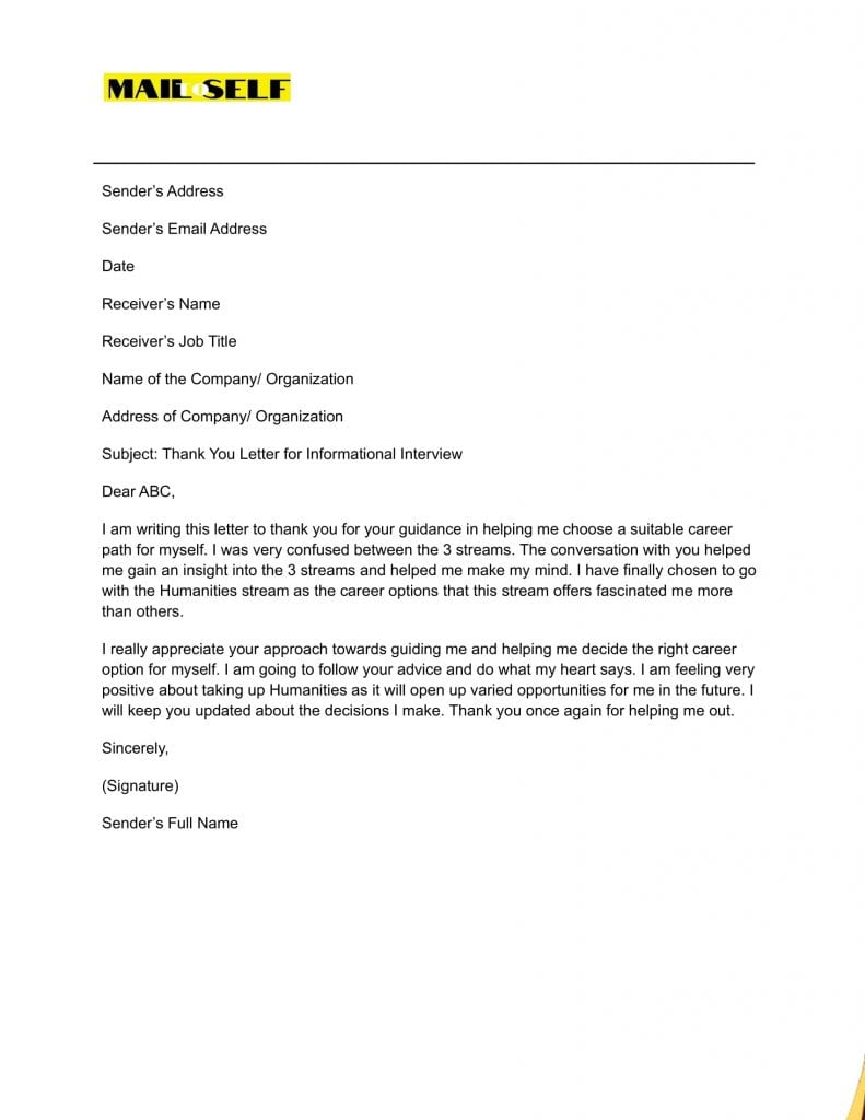 Sample #4 for Thank You Letter for Informational Interview