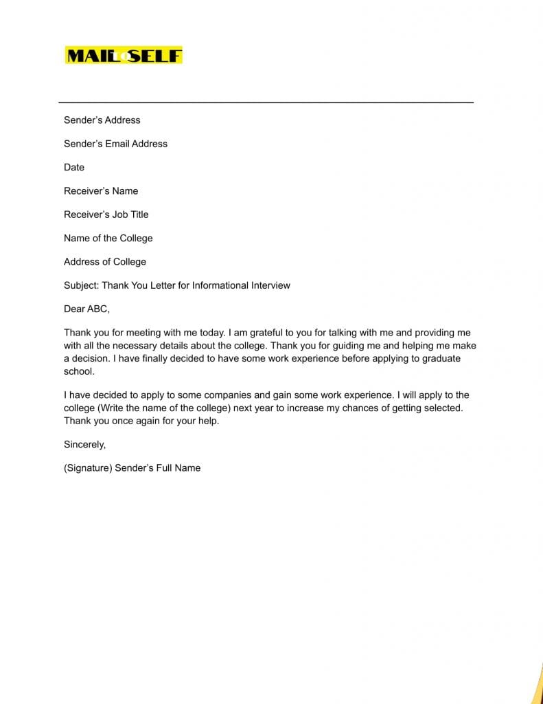 Sample #5 for Thank You Letter for Informational Interview