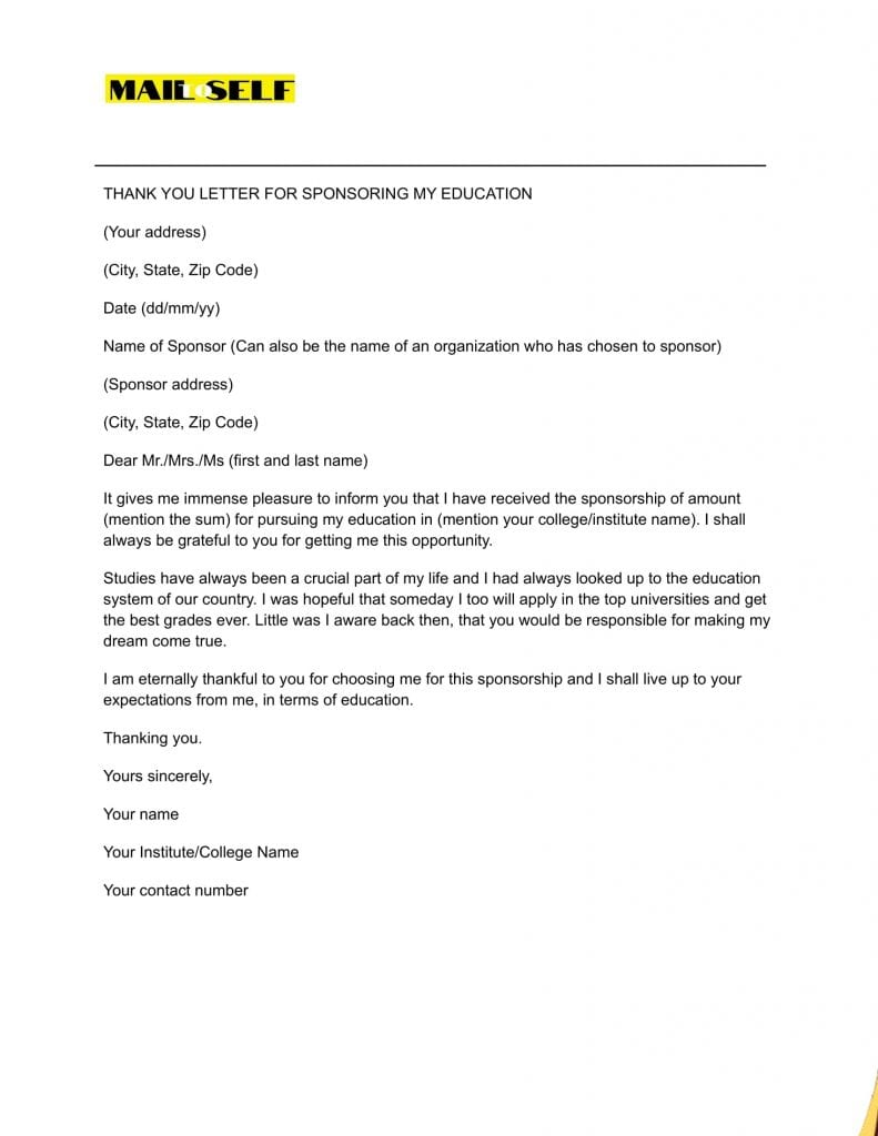 Sample 1 Thank You Letter for Sponsoring the Education