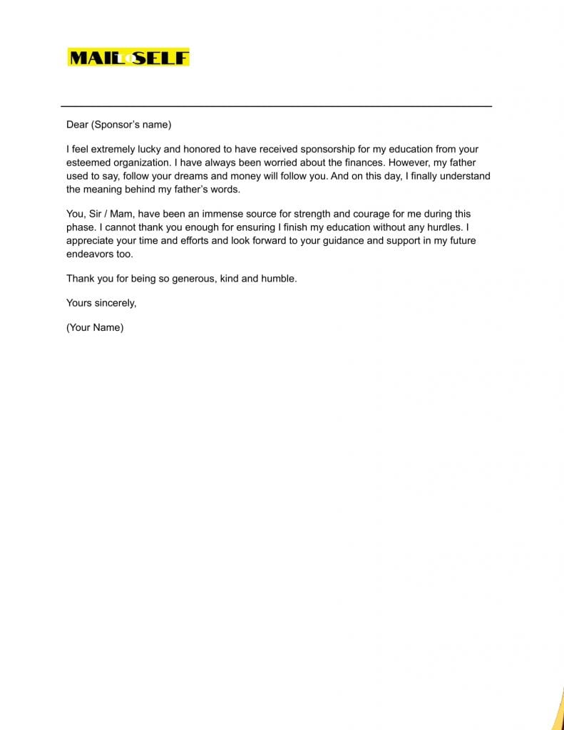 Sample 2 Thank You Letter for Sponsoring the Education