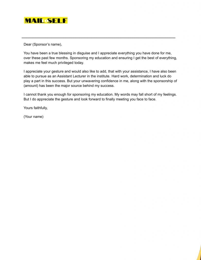 Sample 3 Thank You Letter for Sponsoring the Education