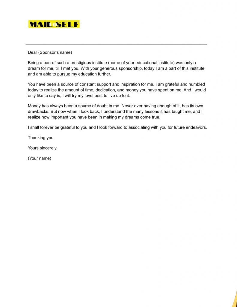 Sample 4 Thank You Letter for Sponsoring the Education
