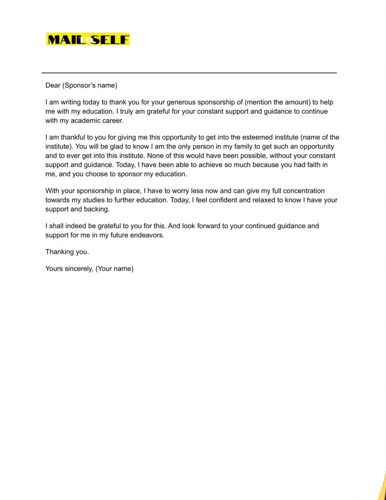 Sample 5 Thank You Letter for Sponsoring the Education