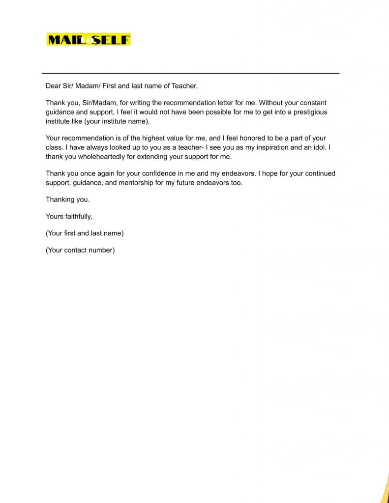 Sample #2 Thank You Letter for Student