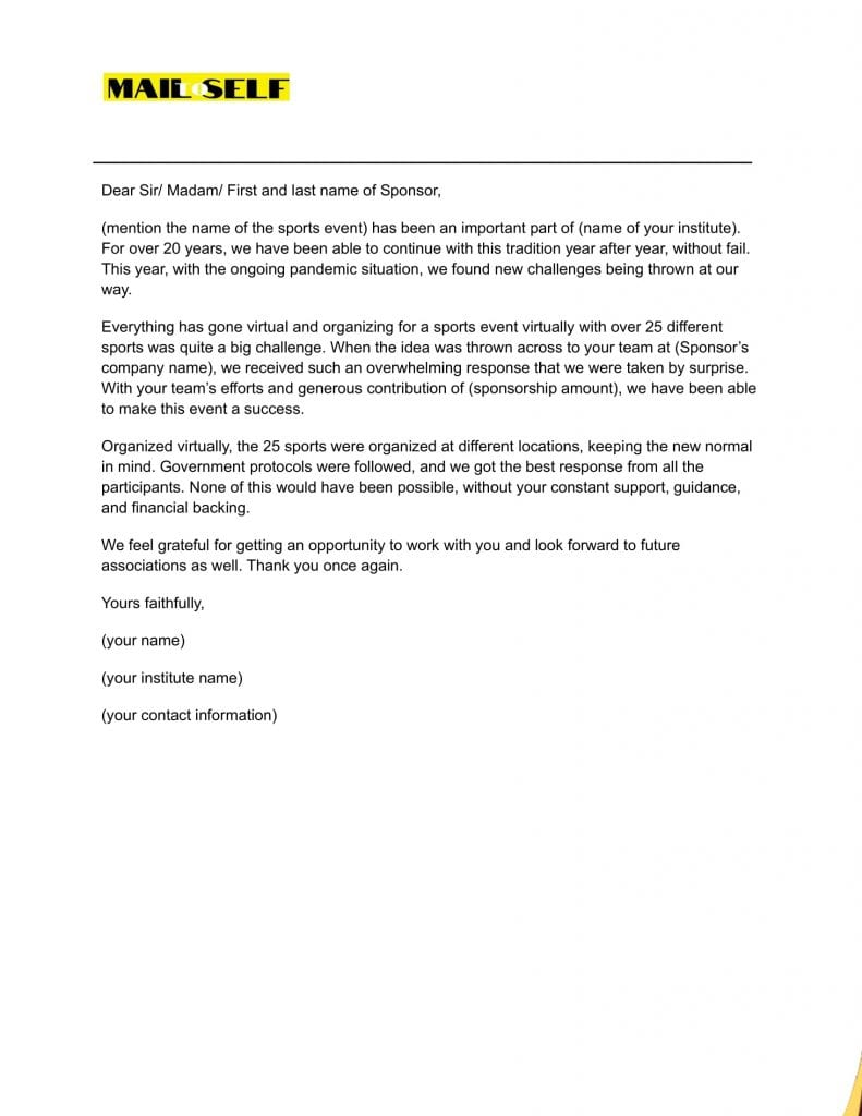 Sample #4 Thank You Letter for Student