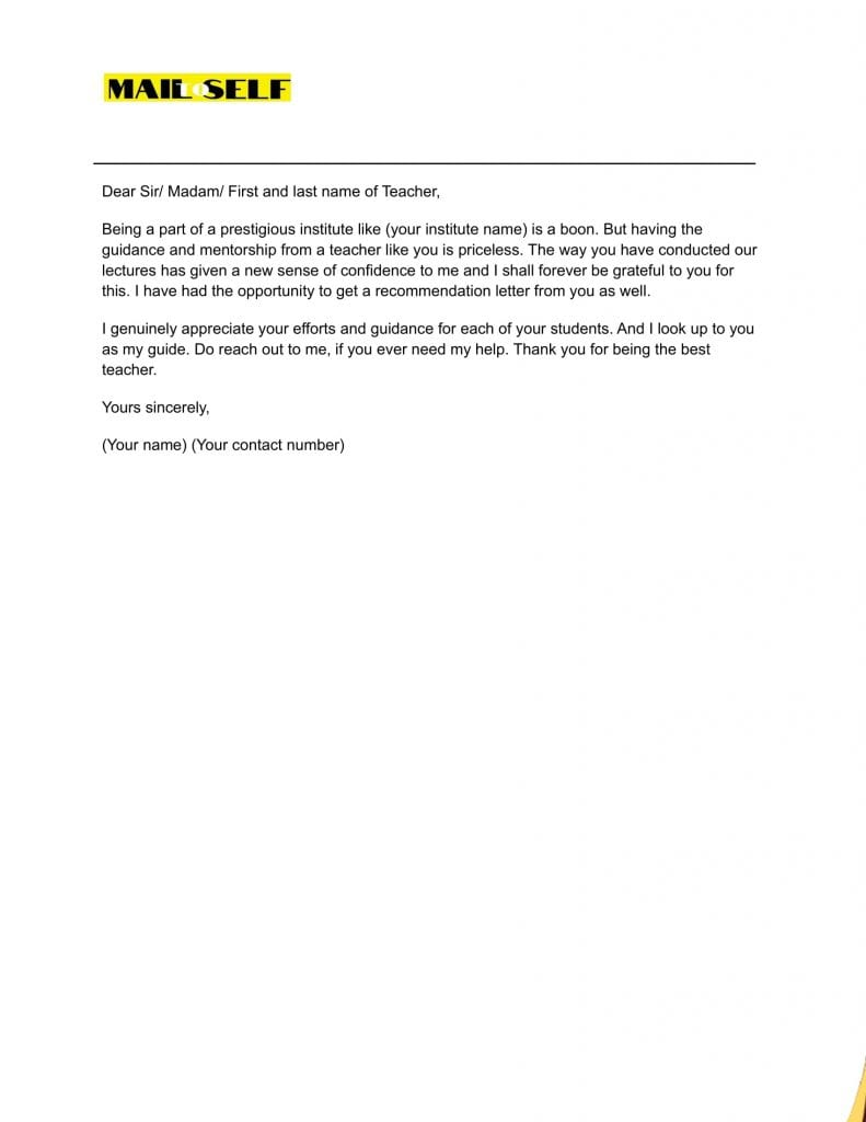 Sample #5 Thank You Letter for Student