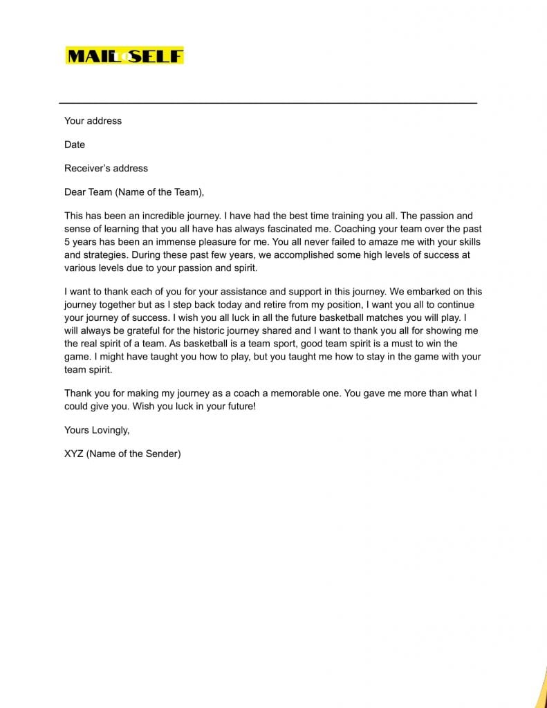 Sample #1 for Thank You Letter from Coach to Players