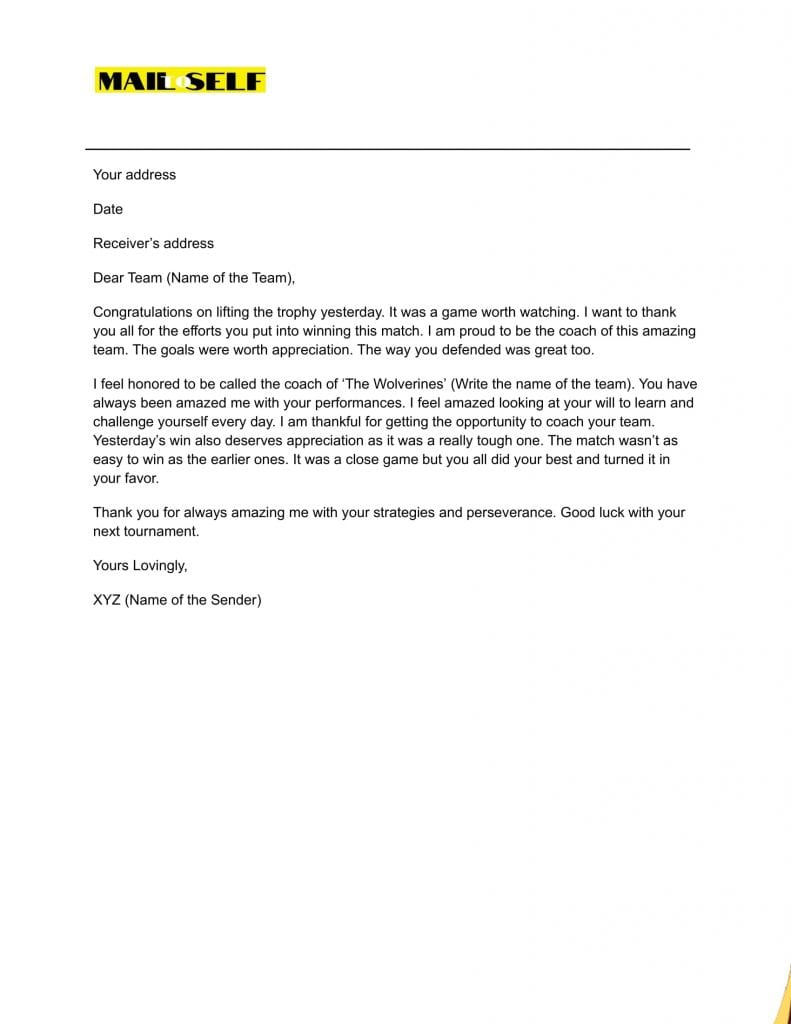 Sample #2 for Thank You Letter from Coach to Players