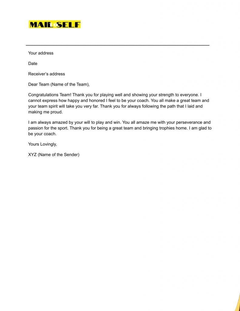 Sample #5 for Thank You Letter from Coach to Players