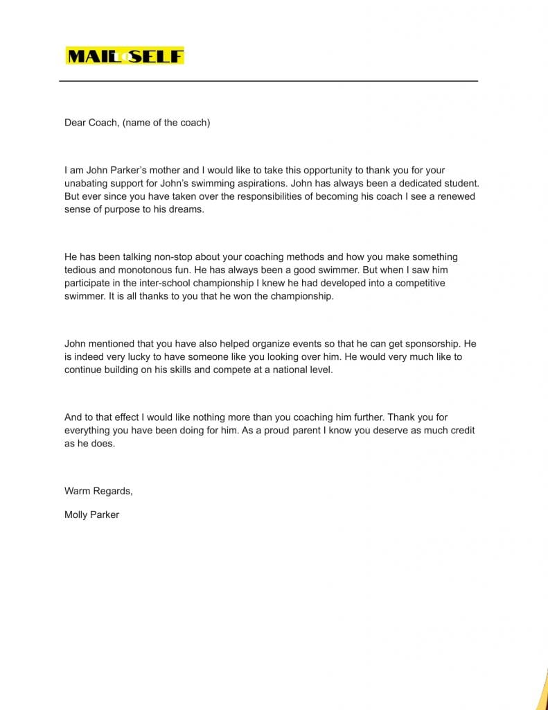 Sample #4 Thank You Letter to Coach from Parents