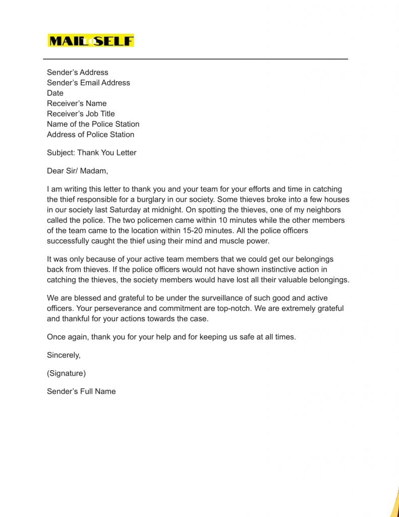 Sample #1 for Thank You Letter to Police Officer
