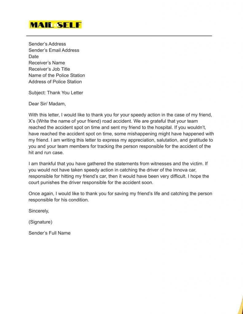 Sample #2 for Thank You Letter to Police Officer