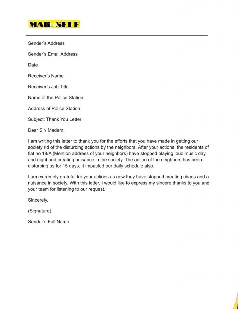 Sample #4 for Thank You Letter to Police Officer