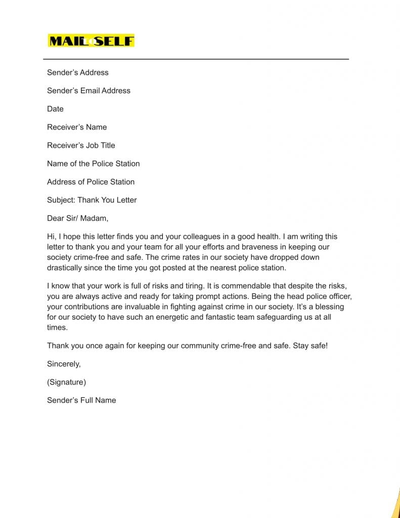 Sample #5 for Thank You Letter to Police Officer