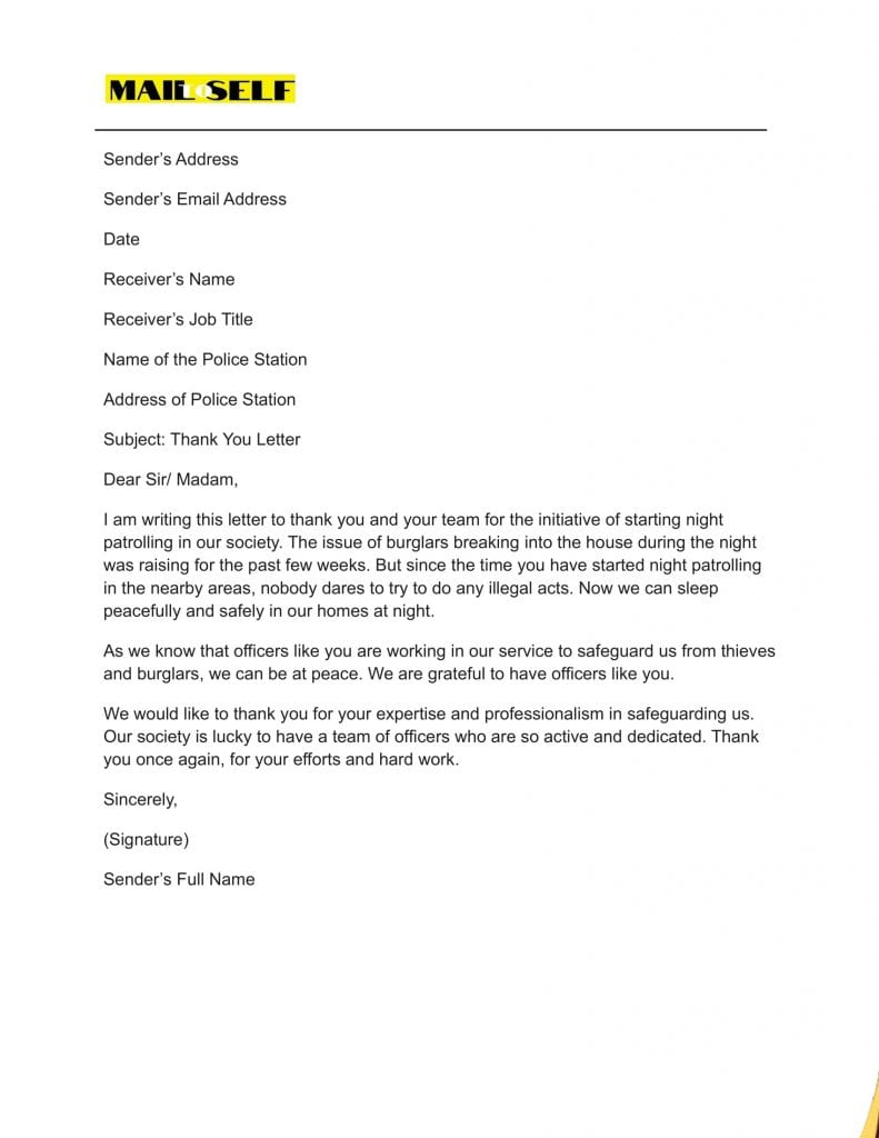 Sample #7 for Thank You Letter to Police Officer