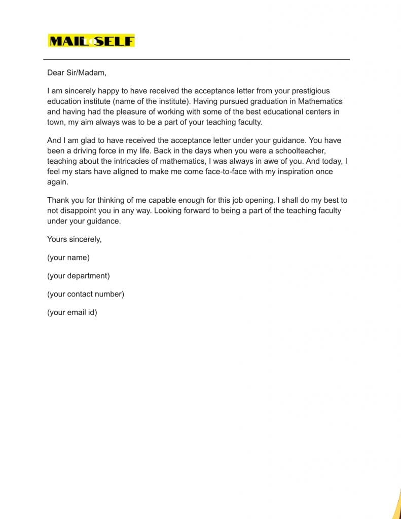 Sample #2 for Thank You Letter to Principal from Student
