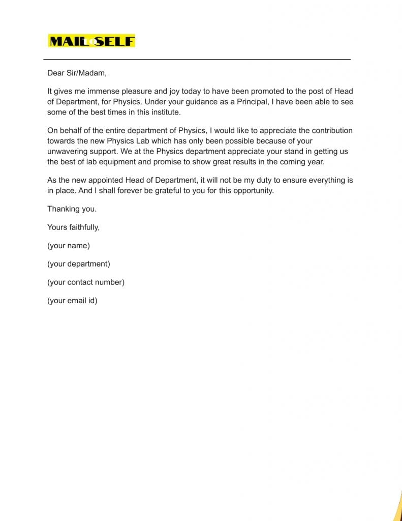 Sample #3 for Thank You Letter to Principal from Student