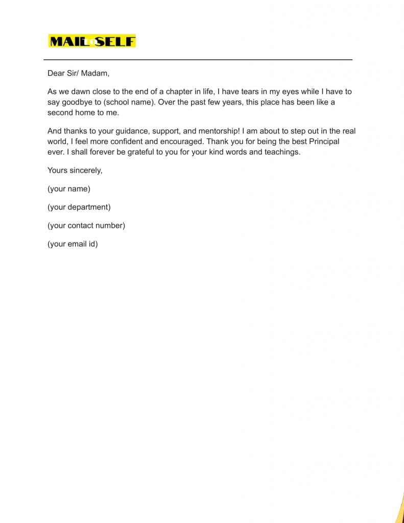 Sample #4 for Thank You Letter to Principal from Student