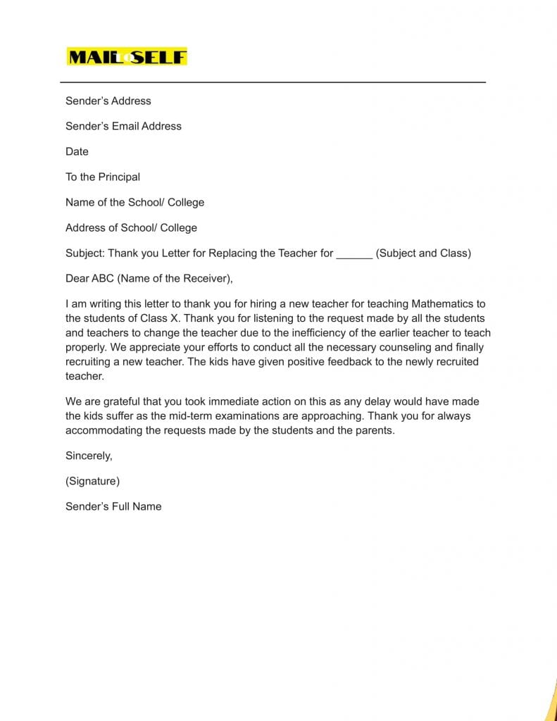 Sample #4 for Thank You Letter to Principal