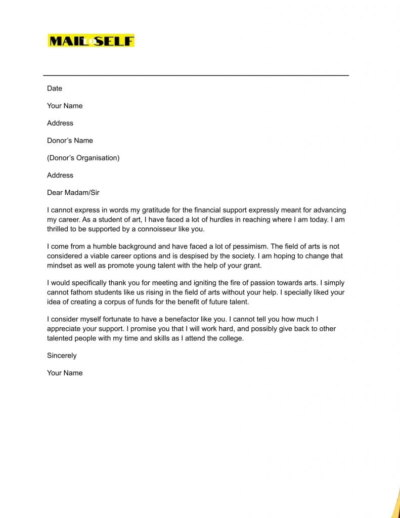 Thank you Letter for Grant Sample #3