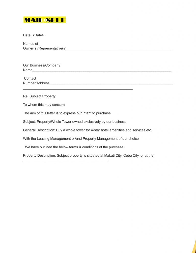 Sample # 1 Top 5 Templates for Letter of Intent (Asset Purchase)