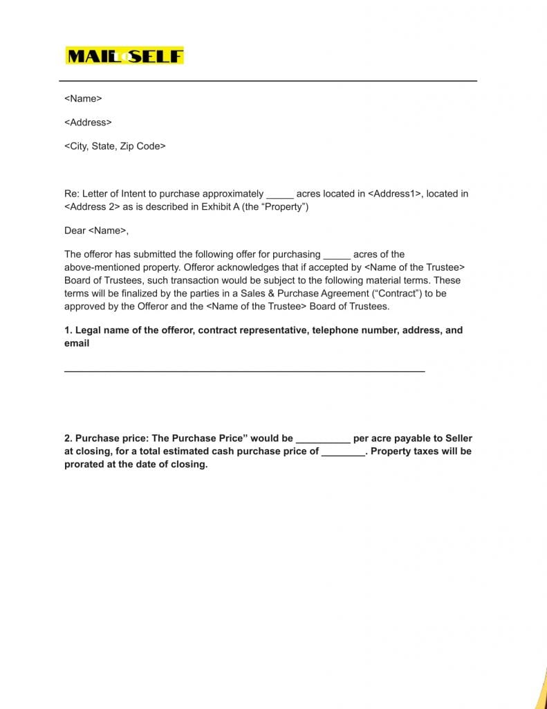 Sample # 2 Top 5 Templates for Letter of Intent (Asset Purchase)