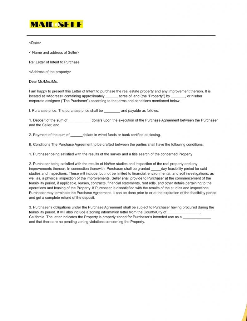 Sample # 3 Top 5 Templates for Letter of Intent (Asset Purchase)