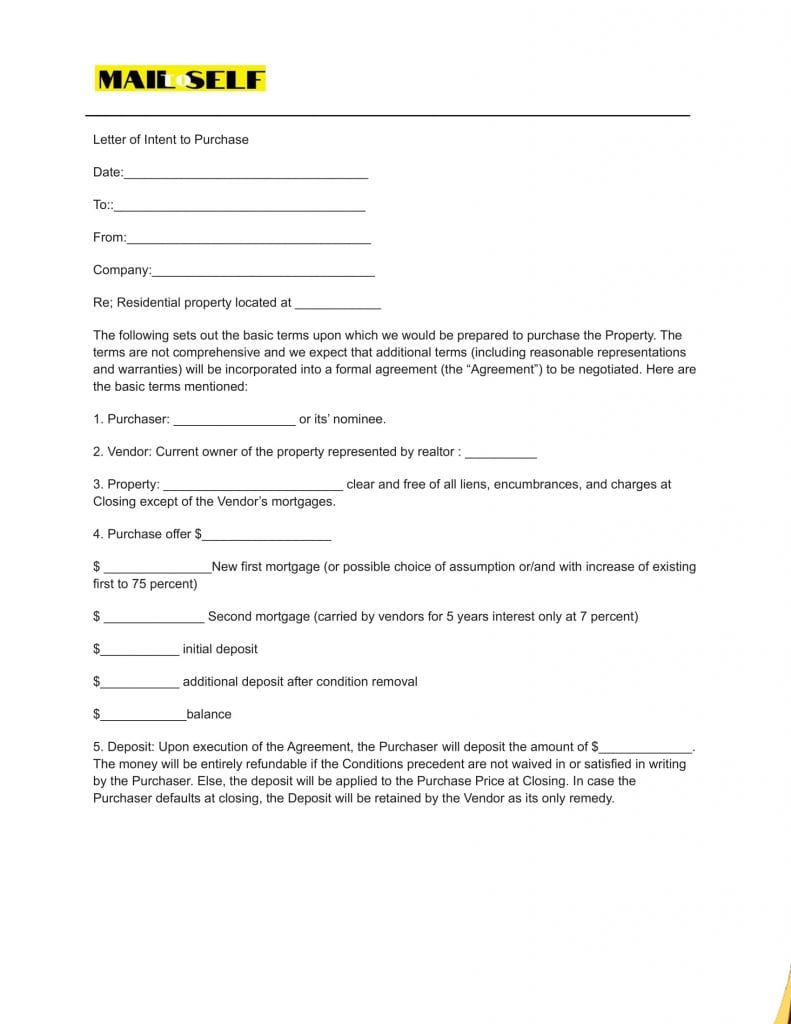 Sample # 5 Top 5 Templates for Letter of Intent (Asset Purchase)