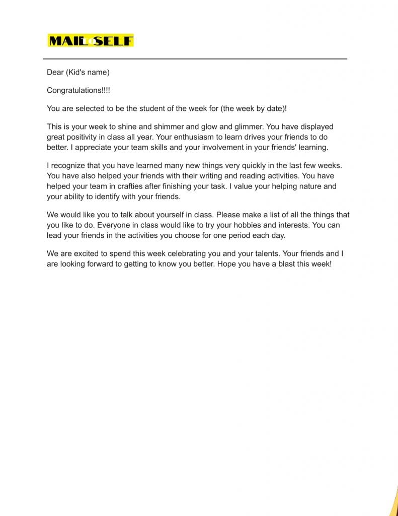 Sample #1 for letters from teachers to students