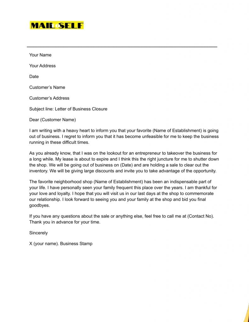 Sample #1 for Letter of Closure of Business